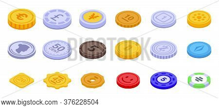 Tokens Icons Set. Isometric Set Of Tokens Vector Icons For Web Design Isolated On White Background