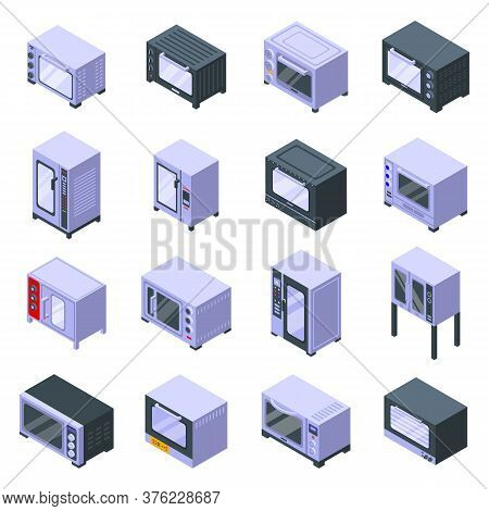 Convection Oven Icons Set. Isometric Set Of Convection Oven Vector Icons For Web Design Isolated On