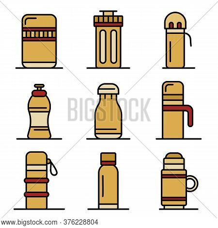 Vacuum Insulated Water Bottle Icons Set. Outline Set Of Vacuum Insulated Water Bottle Vector Icons T