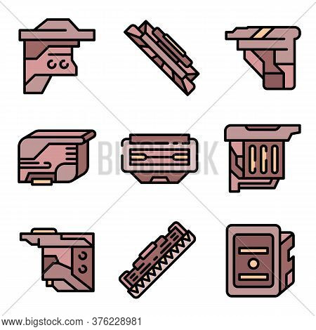 Cartridge Icons Set. Outline Set Of Cartridge Vector Icons Thin Line Color Flat On White