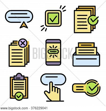 Request Icons Set. Outline Set Of Request Vector Icons Thin Line Color Flat On White