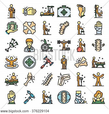 Chiropractor Icons Set. Outline Set Of Chiropractor Vector Icons Thin Line Color Flat On White