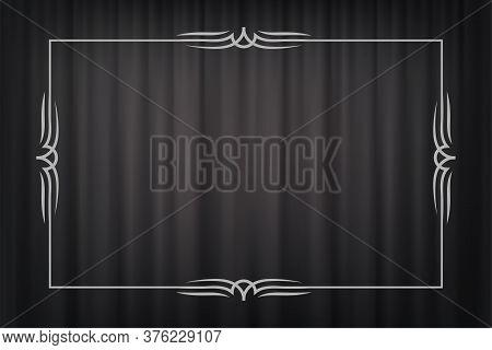 Vintage Border In Silent Film Style Isolated On Dark Grey Curtain Background. Vector Retro Design El