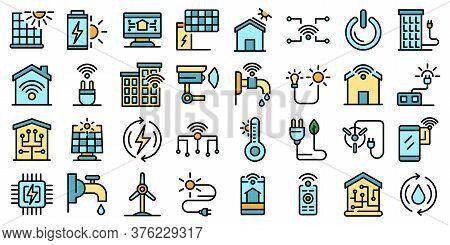 Autonomous House Icons Set. Outline Set Of Autonomous House Vector Icons Thin Line Color Flat On Whi