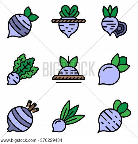 Beet Icons Set. Outline Set Of Beet Vector Icons Thin Line Color Flat On White