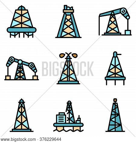 Derrick Oil Icons Set. Outline Set Of Derrick Oil Vector Icons Thin Line Color Flat On White