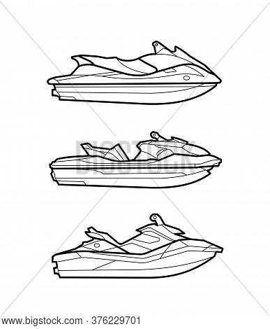 Jetsky, Black And White Icons, Equipment, Line Icons, Water Scooter, Different Models, Logo In Linea
