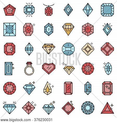 Jewel Icons Set. Outline Set Of Jewel Vector Icons Thin Line Color Flat On White