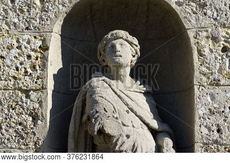 Gorgonzola, Milan,  Lombardy, Italy: Statue On Facade Of The Saints Gervaso And Protaso Church