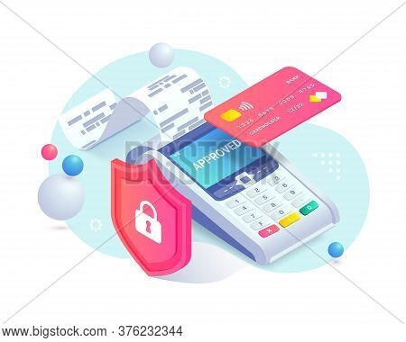 Secure Contactless Payment Via Credit Card Isometric Abstract Concept. 3d Payment Machine, Plastic D