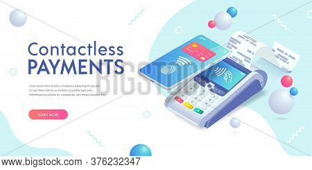 Contactless Payment Via Smartphone Isometric Abstract Banner Concept. 3d Payment Machine, Mobile Pho