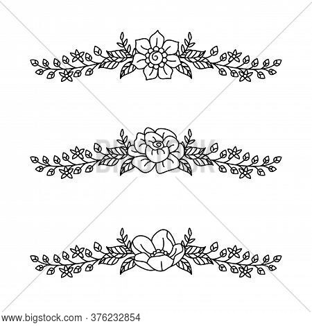 Bouquet Of Flowers, Continuous Line Drawing Vector. Graphical Flower Illustration. Green Flower, Whi