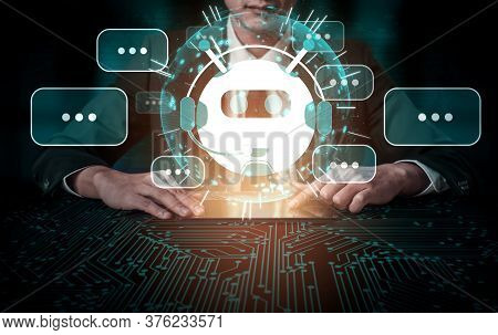 Ai Chatbot Smart Digital Customer Service Application Concept. Computer Or Mobile Device Application