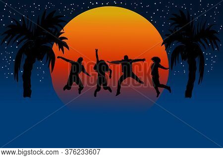 Silhouette Of Friends Jumping In Sunset. People Jumping For Joy. Friendship Day Banner With Copy Spa