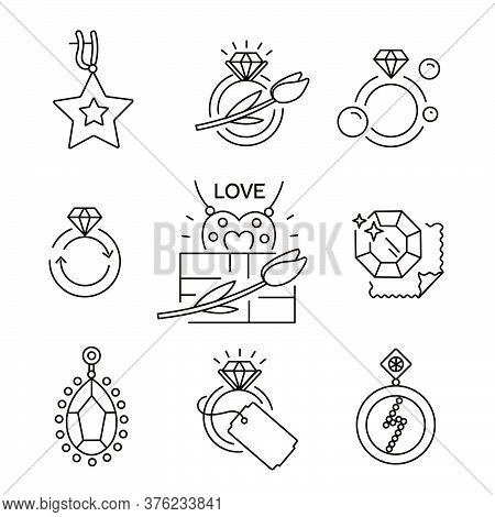 Jewelry Icons, Jewelry Theme, Jewelry Store, Infographics. Repair, Sparkle. Vector Outline Illustrat