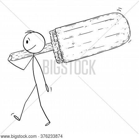 Vector Cartoon Stick Figure Drawing Conceptual Illustration Of Small Man Holding And Carrying Big Po