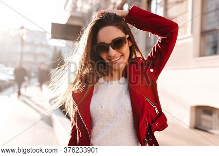 Wonderful Young Woman In Casual Jacket Expressing Good Emotions. Outdoor Photo Of Lovable Brunette G