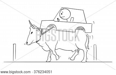 Vector Cartoon Stick Figure Drawing Conceptual Illustration Of Man Driving Car Carried On Back Of Ox