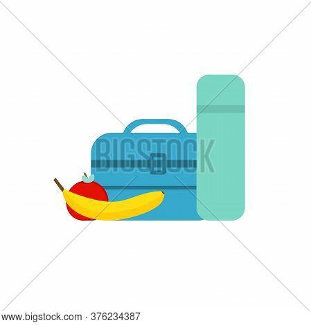 Lunch Break Or Lunch Time Vector Illustration. Lunch Box, Banana And An Apple In Flat Style. Kids Lu