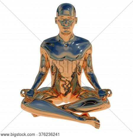 Man Golden Stylized Sitting In Lotus Pose Polished Figure. Human Mental Guru Character Glossy Statue