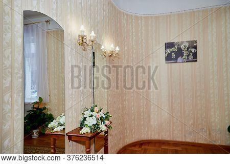 Kirov, Russia - November 08, 2019: Beautiful Hall Or Room With Mosaics On The Floor And Beautiful La