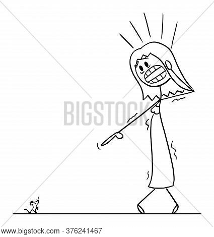 Cartoon Stick Figure Drawing Conceptual Illustration Of Frightened Woman Or Girl With Musophobia Wat