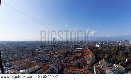 Turin, Italy - 07/02/2020: Travelling Around North Italy. Beautiful Caption Of Turin Wih Sunny Days