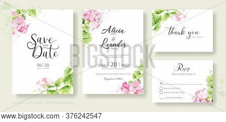 Set Of Floral Wedding Invitation Card, Save The Date, Thank You, Rsvp Template. Hydrangea, Pink Flow