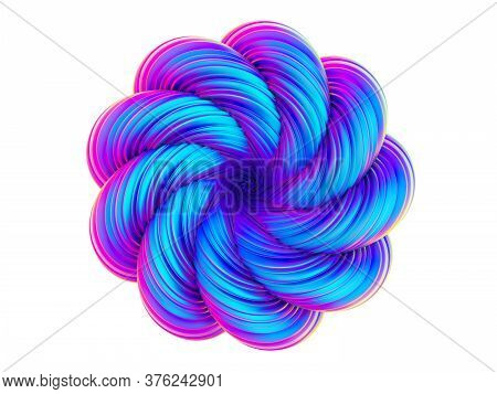 Fluid Design Holographic Abstract Twisted Shape. Trendy Bright Neon Colored 3d Rendering Design Elem