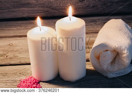 Spa Still Life Composition. Composition With White Candles For Spa Treatment. Zen And Relax Concept.
