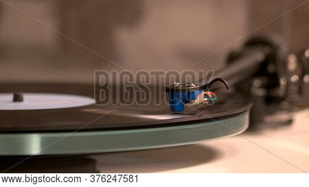 Vintage Record Player. Turntable For Old Records.