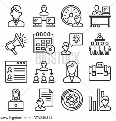 Business Administrator And Organization Icons Set. Line Style Vector