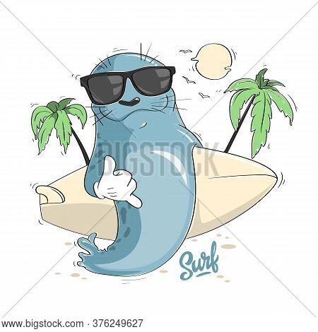 Cartoon Seal With Surf Board And Sunglasses, Aloha Vector Design