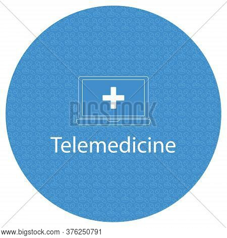 Vector Blue Round Frame With Pills Pattern. Telemedicine Simple Concept Illustration. Doodle.