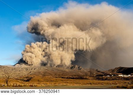 Dangerous View Of Mount Aso (largest Active Volcano In Japan) During Explosion, Venting Ashes. Date: