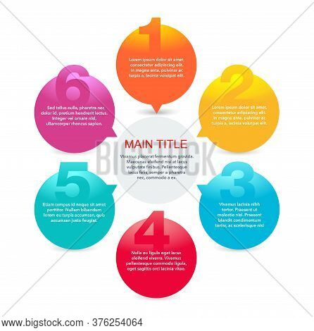 6 Steps Infographic Template (6 Points, Five Options) With Colorful Circular Options Fragments Conne