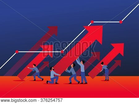 Business Growth And Success Concept - People Group Holds Arrows With Upward Direction (45 Degrees Di