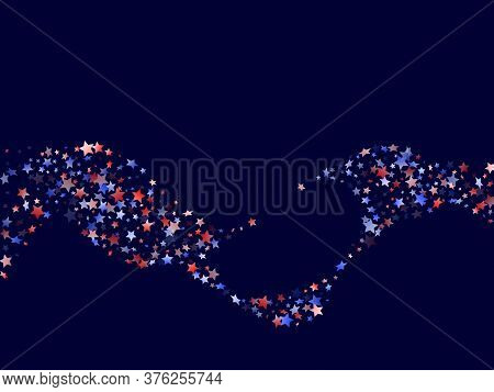 American Patriot Day Stars Background. Confetti In Us Flag Colors For Independence Day.  Poster Red
