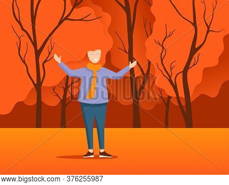 Happy Red-haired Young Woman In Autumn Park Or Forest With Combination Of Hair Curls And Tree Crown