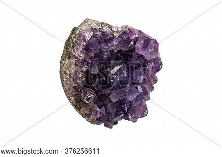 Macro Shot Of Purple Amethyst Isolated On White Background