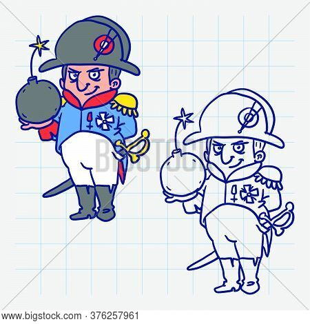 Napoleon Bonaparte Holding Bomb And Smiling. Hand Drawn Character