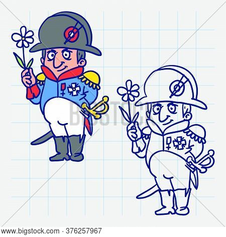 Napoleon Bonaparte Holding Flower And Smiling. Hand Drawn Character