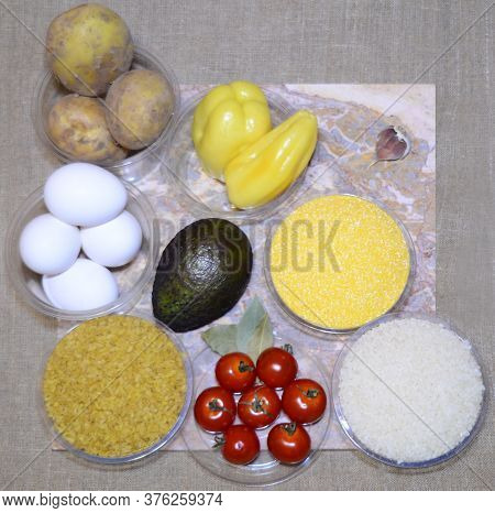 Nine Interesting Ingredients For Cooking In Fast Food: Eggs, Potatoes, Bulgur, Cherry Tomatoes, Bay