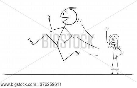 Cartoon Stick Figure Drawing Conceptual Illustration Of Happy Smiling Man Or Husband Running And Lea