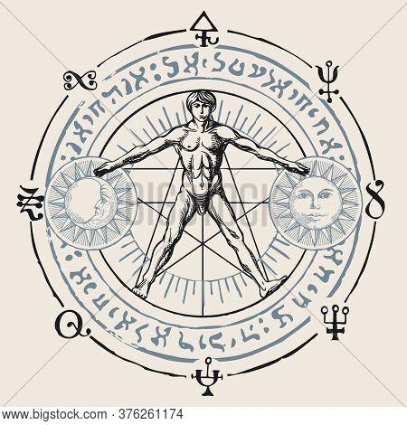 Illustration With A Human Figure Like Vitruvian Man By Leonardo Da Vinci, Sun, Moon And Alchemical S