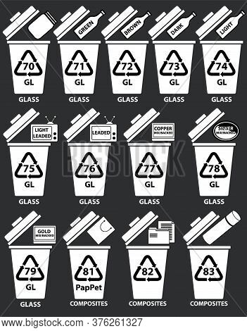 Recycling Codes For Glass Composites. Recycling Bins Illustration With Bottles, Tv Glass, Paper Bag.