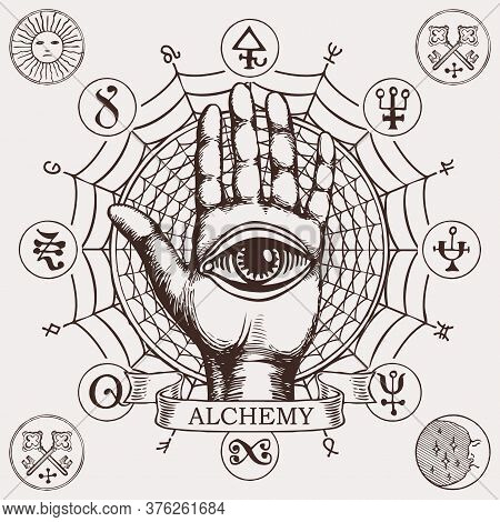 Open Palm With All Seeing Eye Symbol. Vector Hand-drawn Banner On The Theme Of Alchemy With Human Ha