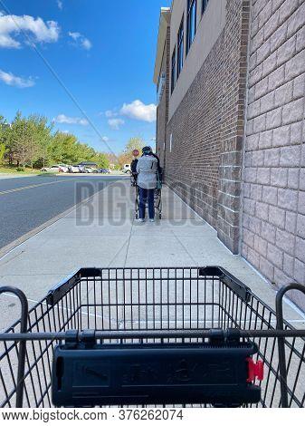 Pandemic Supermarket Entrance Line
