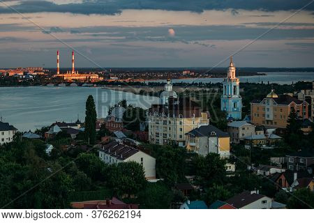 Evening Summer Voronezh Skyline. Aerial View From The Roof