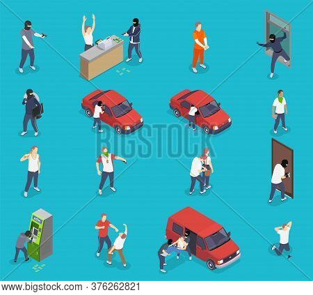 People Committing Crime Isometric Icons Set With Thieves Kidnappers Gangsters Isolated On Blue Backg